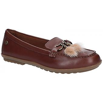 Hush Puppies Aidi Puff Dames Lederen Loafers Brown