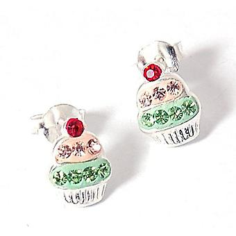 The Olivia Collection Sterling Silver Funky Green Cupcake Stud Earrings