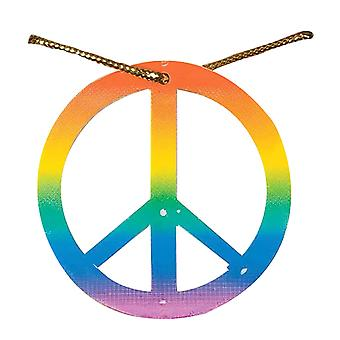Bristol Novelty Unisex Adultes Rainbow Peace Médaillon