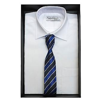 Boys Classic Collar White Shirt with a choice of tie