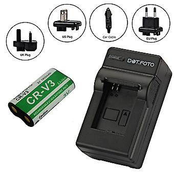 Dot.Foto Olympus CR-V3, CR-V3P, CR-V3R, RCR-V3, LB-01 PREMIUM 3.0v / 1200mAh Battery and Battery Travel Charger [See Description for Compatibility]
