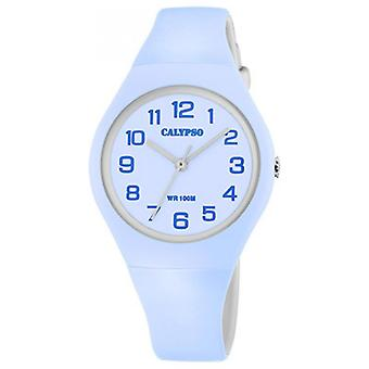 Visa Calypso JUNIOR K5777-2 - 34MM blå urtavla blå BLÅMÄRKEN på armband blå kvinna harts harts