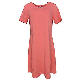 Denim & Co. Jurk korte mouw w / Lace Up Back Detail Roze A307113
