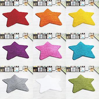 Shaggy Høj Flor Tæppe Solid Color Star Shape Kids Carpet Nursery Mat