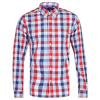 Hübsche grüne Galaxy Marine & rot Check Langarm Shirt