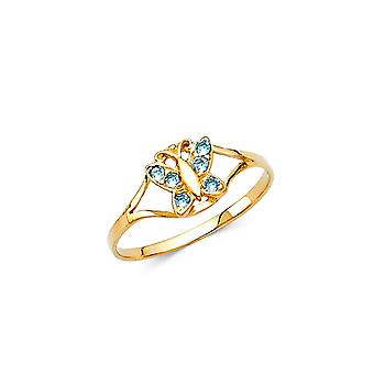 14k Yellow Gold CZ Cubic Zirconia Simulated Diamond Mar Boys and Girls Ring Size 3 - .8 Grams