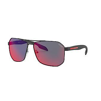 Prada Sport Linea Rossa SPS51V DG09Q1 Black Rubber/Dark Grey Mirror Blue/Red Sunglasses