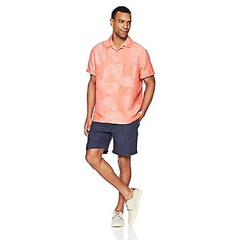 28 Palms Men's Relaxed-Fit Silk/Linen Tropical Leaves Jacquard Shirt, Coral, ...