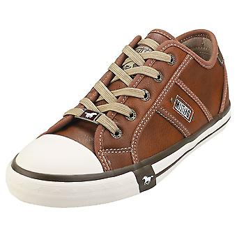 Mustang Rubber Toe Cap Casual Low Womens Casual Trainers in Cognac