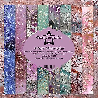 Paper Favourites Artistic Watercolour 12x12 Inch Paper Pack
