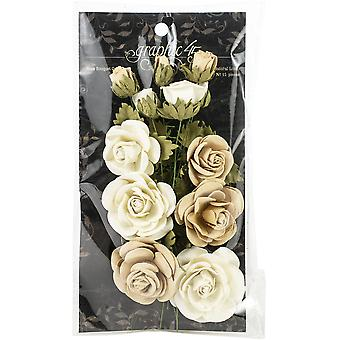 Graphic 45 Classic Ivory & Natural Linen Flowers