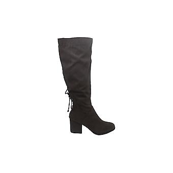 Brinley Co. Womens Knee-High Heeled Boot Grey, 6 Wide Calf US