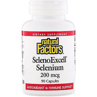 Natural Factors, SelenoExcell, Selenium , 200 mcg, 90 Capsules