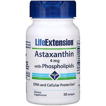 Prolongation de la durée de vie utile, Astaxanthine avec Phospholipides, 4 mg, 30 Softgels