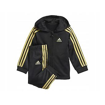 Adidas Infant Shiny Full Zip Tracksuit Hooded Set DJ1581