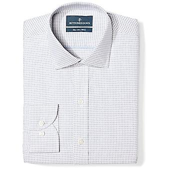 BUTTONED DOWN Men's Slim Fit Spread Collar Pattern Non-Iron Dress Shirt, Gris...