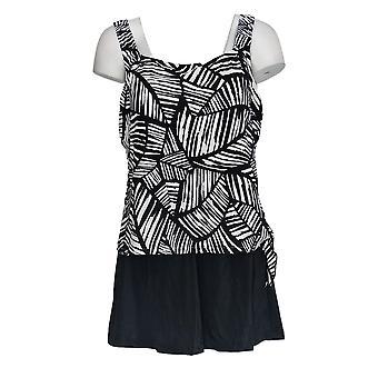 Maxine of Hollywood Swimsuit Faux Skirtini Black / White