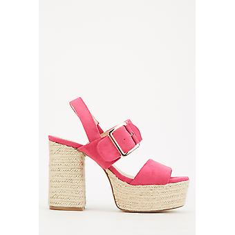 Sandálias de plataforma de veludo