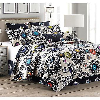 2 PC Nadira Printed King/Queen Size Polyester Quilt Set With 2 Shams