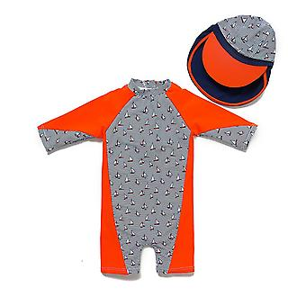 Bonverano Boys One Piece UPF 50+ Sun Protection 3/4 Manches Zip Maillot de bain