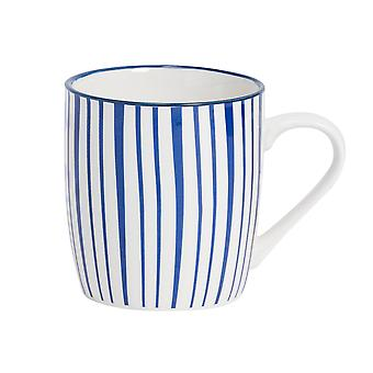 Nicola Spring Stripe Patterned Tea and Coffee Mug - Small Porcelain Cappuccino Teacup - Navy Blue - 280ml