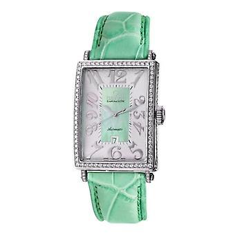 Gevril Kvinnor's 6206NV Glamour Automatisk Diamond Vitt Läder Datum Armbandsur
