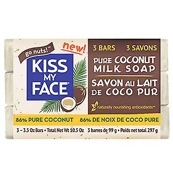 Kiss My Face Bar Soap, Pure Coconut Milk 3 Count