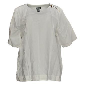 Martha Stewart Women's Top Linen Blend Elbow-Sleeve Blouse White A355013
