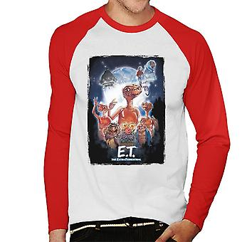 E.t. O pôster cinematográfico extra terrestre Montage Men''s Baseball Long Sleeved T-Shirt