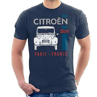 Citro?n White 2CV Paris France Single Stripe Men's T-Shirt