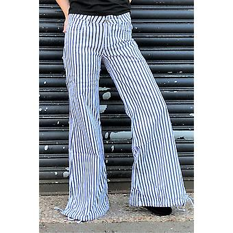 70s Style Striped Wide Bell-Bottoms