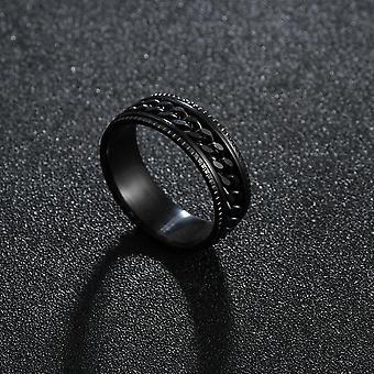 Punk التيتانيوم الصلب الروماني ترقيم تويست سلسلة خواتم - مصقول فاسق الزفاف