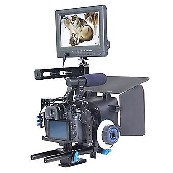 YELANGU YLG1105A Handle Video Camera Cage Stabilizer Kit with Matte Box & Follow Focus for Panasonic Lumix DMC-GH4 & G7 / Sony A7 & A7S & A7R & A7RII