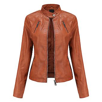 Homemiyn Women's Solid Color Zipper Stand Collar Leather Jacket Ladies Slim Fashion Leather Clothing