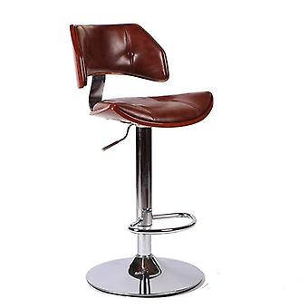 Swivel Bar Stool Chair In Faux Leather Chrome Finish Adjustable Height