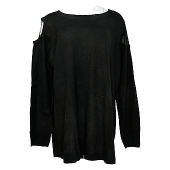 Attitudes par Renee Women's Plus Sweater W/ Bow Detail Black A298648