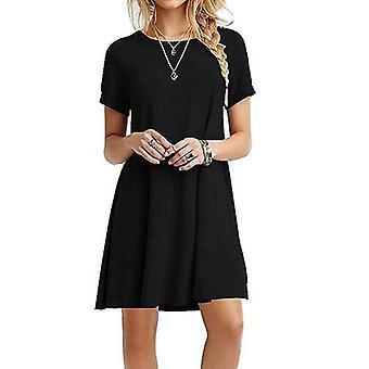 Womens O-neck Party Summer Dress, Short Sleeve Loose Mini Dress