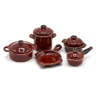 Dolls House Porcelain Earthen Cookware Pan Set Miniature Kitchen Accessoire 5 Pc