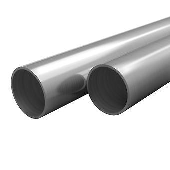 vidaXL 2 أنابيب الفولاذ المقاوم للصدأ جولة V2A 2m Ø40x1,8mm