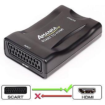 Scart au convertisseur hdmi, adaptateur amanka scart support hdmi 720/1080p pour smartphone à hdtv stb ps3