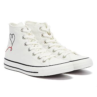 Converse All Star Valentine's Day Hi Womens White Trainers