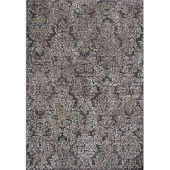 3'x5' Taupe Sand Damask Faux Silk Indoor Area Rug