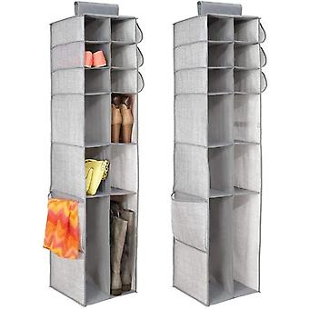 mDesign Fabric Hanging Closet Storage Organizer, for Shoes, Boots, Handbags, Clutches - Pack of 2