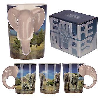 Keramische safari bedrukte mok met olifant hoofd handvat