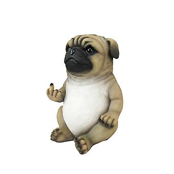 Pug Life Rude Finger Flipping Pug Dog Tabletop Statue 6.75 Inches High