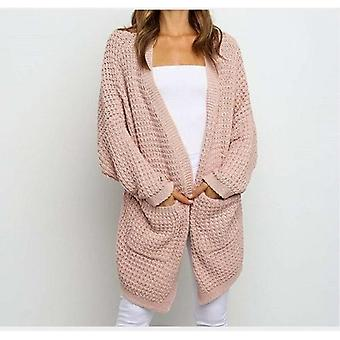 Long Knitted Women's Cardigan Long Sleeve Pockets Knitted Sweater