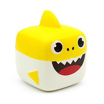 Slow Rebound Cartoon Cube Shark Soft And Pinchable Pu Simulation Decompression Toy,yellow