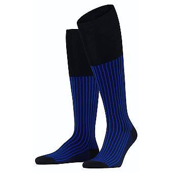 Falke Oxford Stripe Knee High Socks - Black