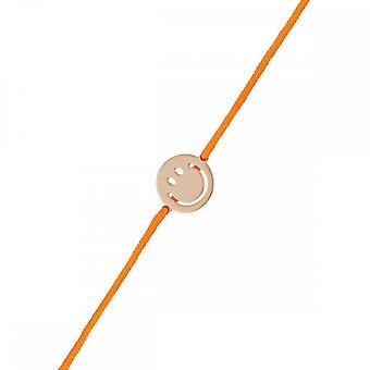 Smiley Vermeil pink cord bracelet and orange cord 'apos;Grand Smile'apos;