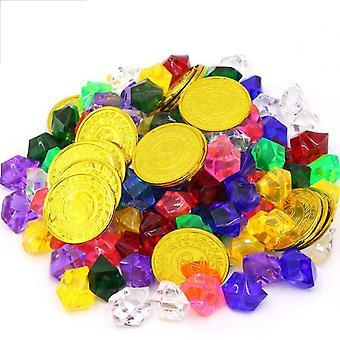 50pcs Pirat Mnzen + 100pcs Piraten Edelsteine, Mehrfarbige Goldmnzen des Piratenschatz Spielzeugs